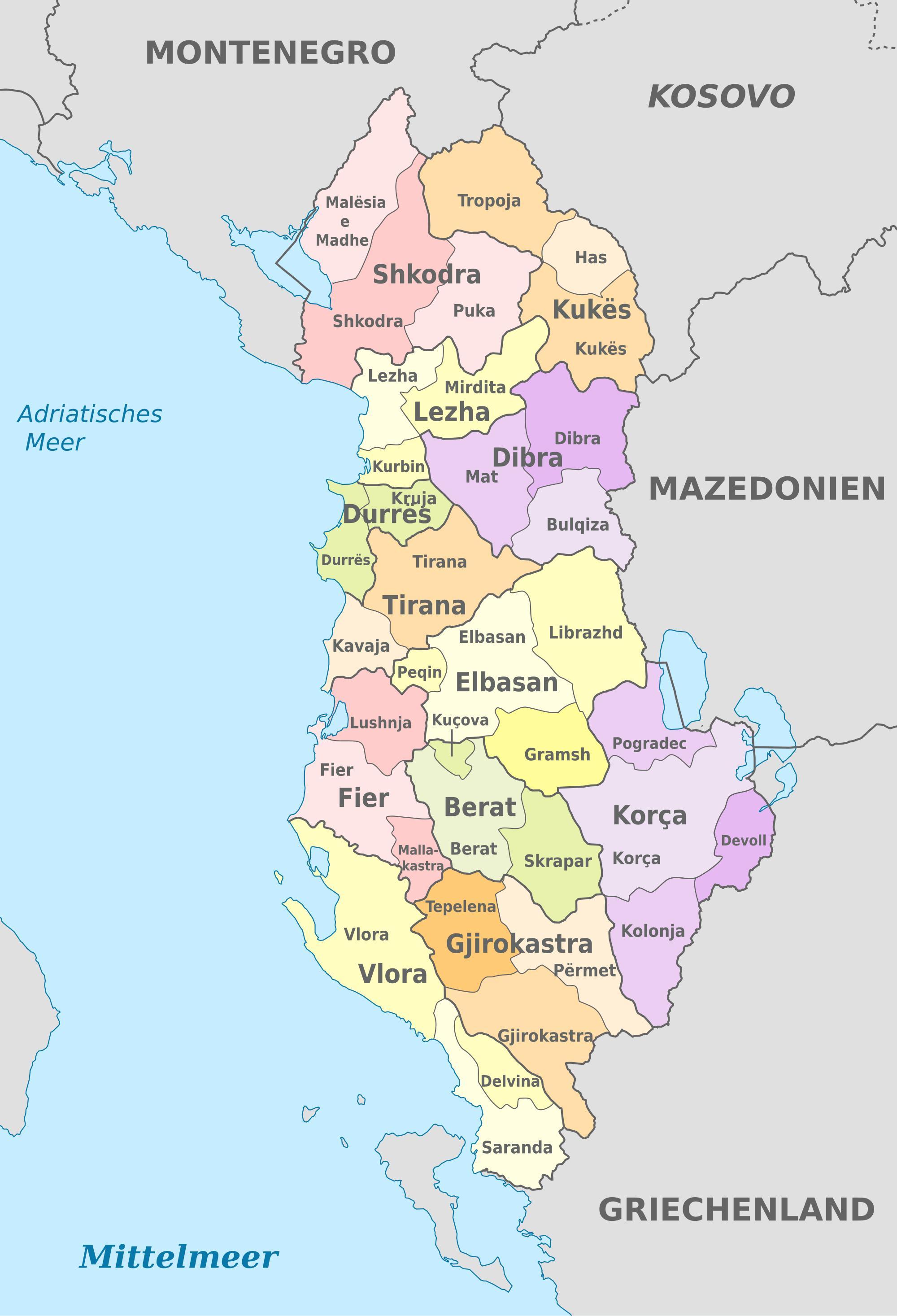 Cartina Di Albania.Albania Mappa Politica Mappa Dell Albania Politico Europa Del