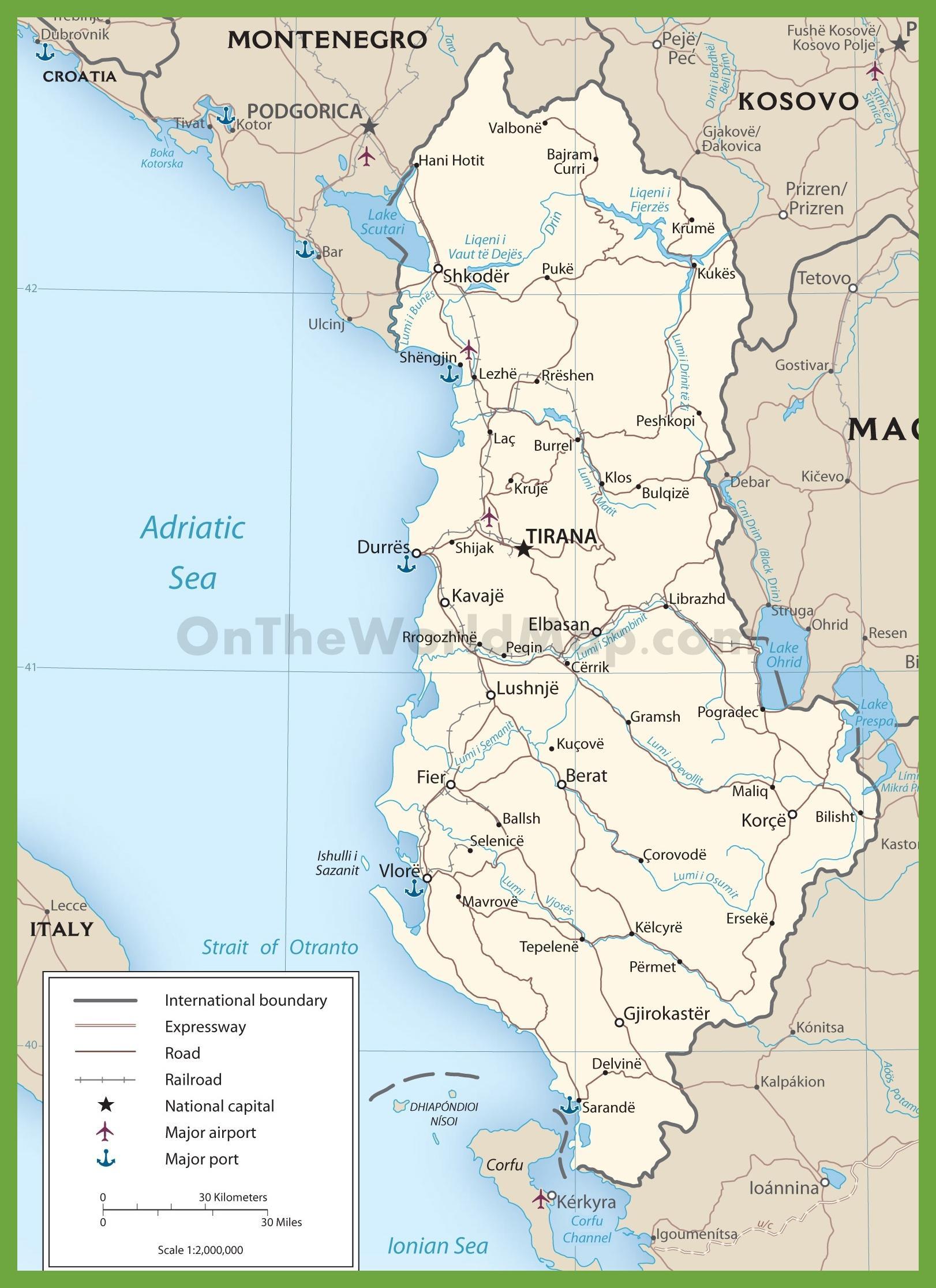 Albania Cartina Stradale.Albania Mappa Stradale Albania Mappa Delle Strade Europa Del Sud Europa