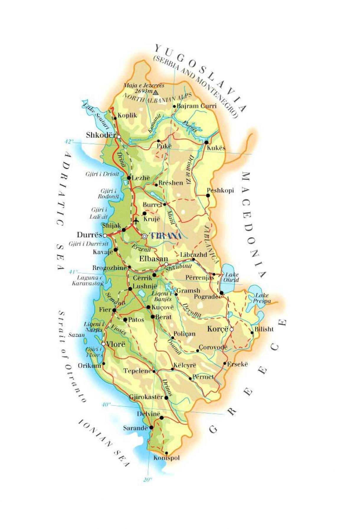 Cartina Albania Fisica.Mappa Fisica Di Albania Mappa Della Mappa Fisica Dell Albania Europa Del Sud Europa